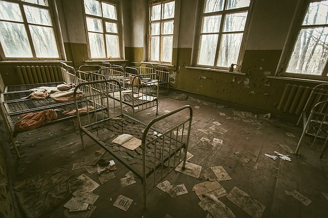zničená nemocnice